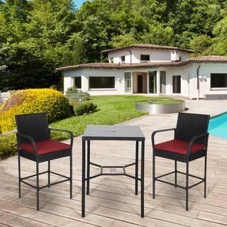 Kinbor Outdoor 3-piece Wicker Bar Set Rattan Table & High Back Barstool Patio Dinning Set with Cushions