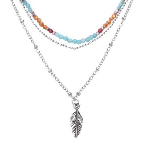 Handmade Boho-Chic Silver Feather Pendant with Quartz Beads Layered Necklace (Thailand)