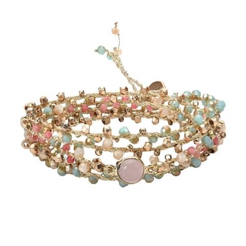 Handmade Stylishly Chic Stone and Crystal Beads on Silk Wrap Bracelet (Thailand)