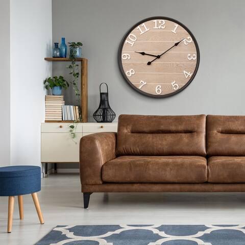 "Glitzhome 23.6""D Farmhouse High Quality Metal Wooden Wall Clock"