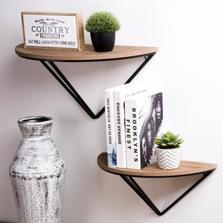 Glitzhome Set of 2 Firwood Metal Farmhouse Half-round Floating Wall Shelf
