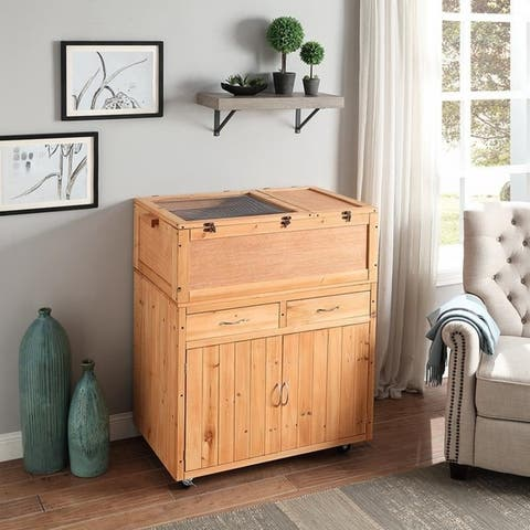 Unipaws Wooden Storage Cabinet, Table Stand for Tortoise House - Medium