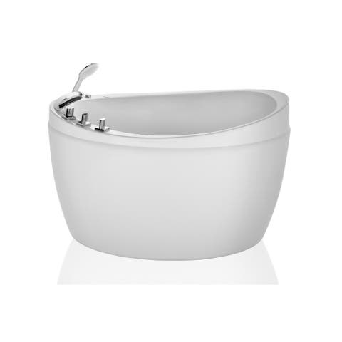 "48"" Acrylic Freestanding Air Jets Massage Bathtub Oval Japanese Tub"
