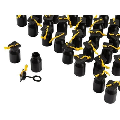 48 Black Graduation Cap Bubble Bottles Blow Wand Party Supplies Non-Toxic, 0.6oz