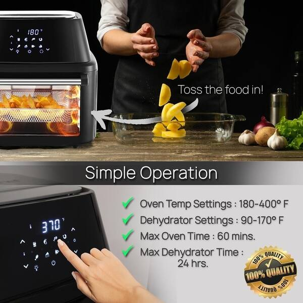 Shop NutriChef Rotisserie 1800W High Power Air Fryer Plus Food Dehydrator  and Rotisserie Oven Combo 17 Plus Quart Large Capacity - Overstock -  29592055