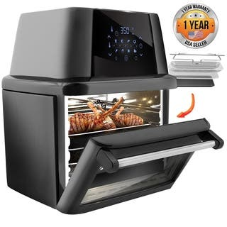 NutriChef Rotisserie 1800W High Power Air Fryer Plus Food Dehydrator And Rotisserie Oven Combo 17 Plus Quart Large Capacity