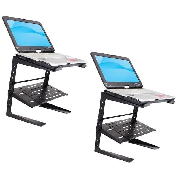Set of (2) Pyle Portable Adjustable Laptop Stand 6.3 to 10.9 Inch Standing Table Monitor or Computer Desk Workstation Riser