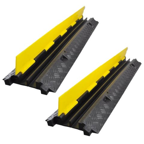 Set of (2) Pyle Durable Ramp Supports 33000lbs Three Channel Cord Protection with Flip-Open Top Cover, 35.4 x 13.6 x 1.96 Inch