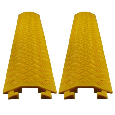 Set of (2) Pyle Durable Cable Ramp Protective Cover 2,000 lbs Max Heavy Duty Drop Over Hose & Cable Track Protector