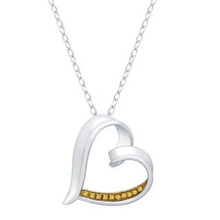 Sterling Silver With Genuine Yellow Diamond Heart Pendant With 18 Chain