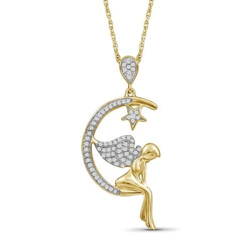 JewelonFire 1/5 Ctw Genuine White Diamond Angel Pendant in Gold over Silver