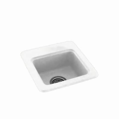 Swan 15-in D x 15-in W x 6-in H Solid Surface Drop-in Bar Sink with 1-Hole