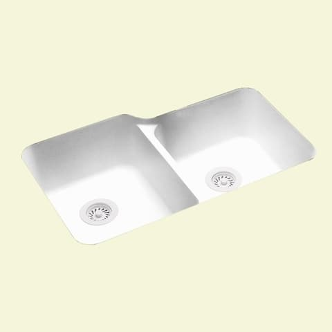 Swan 32.75-in D x 21.125-in W x 8.25-in H Solid Surface Undermount Double Bowl Kitchen Sink with 0-Hole