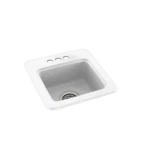 Swan 15-in D x 15-in W x 6-in H Solid Surface Drop-in Bar Sink with 3-Holes