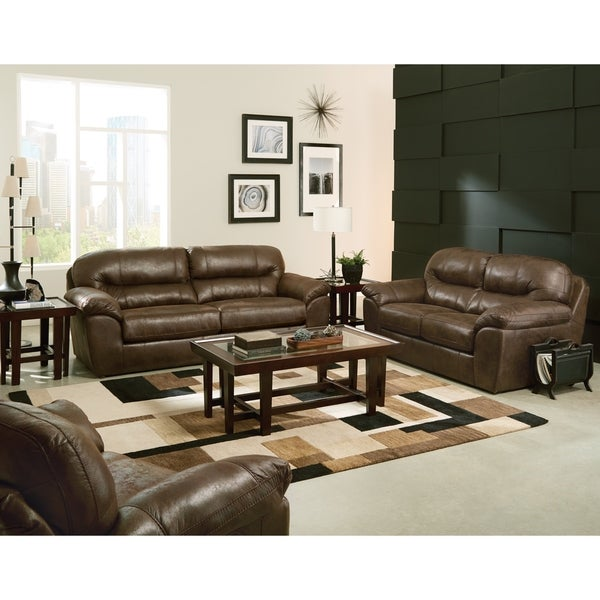 Alderon Faux Leather Sofa and Loveseat Living Room Set