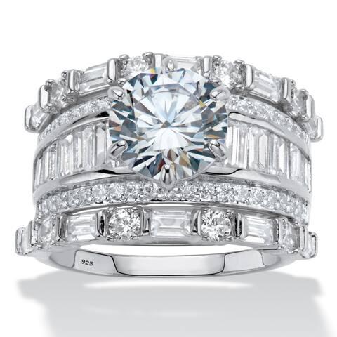 Platinum over Silver Bridal Ring Set Cubic Zirconia (6 3/8 cttw TDW) - White