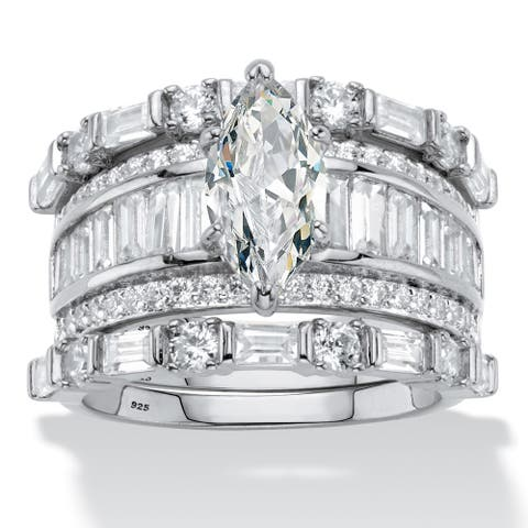 Platinum over Silver Marquise Cut Bridal Ring Set Cubic Zirconia - White