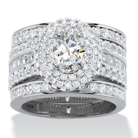 Platinum over Silver Double Halo Bridal Ring Set Cubic Zirconia - White