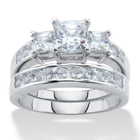 Platinum Plated Princess Cut 2 Piece Bridal Ring Set Cubic Zirconia - White