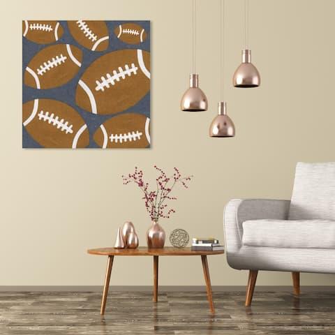 Wynwood Studio 'Football' Sports and Teams Wall Art Canvas Print - Brown, Gray