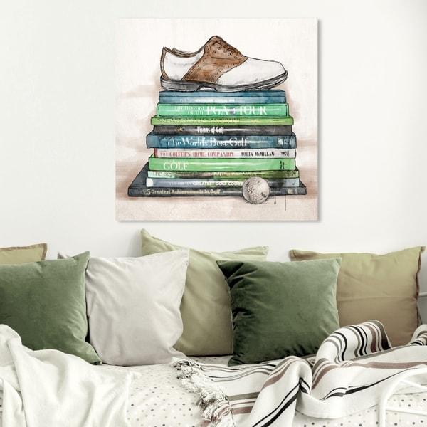 Wynwood Studio 'Golf Books' Fashion and Glam Wall Art Canvas Print - Green, Brown