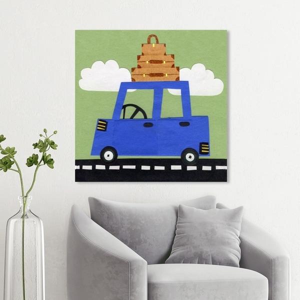 Wynwood Studio 'Lets Go on a Roadtrip' Transportation Wall Art Canvas Print - Blue, Green