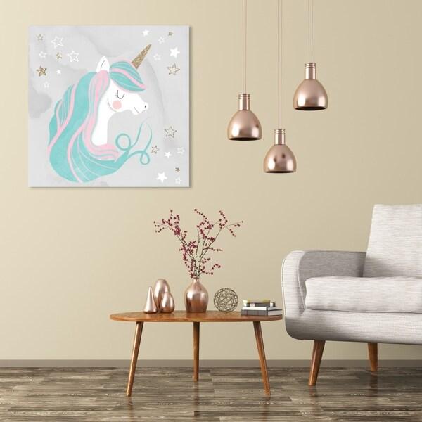 Wynwood Studio 'Unicorn Glitter' Fantasy and Sci-Fi Wall Art Canvas Print - Blue, Gold