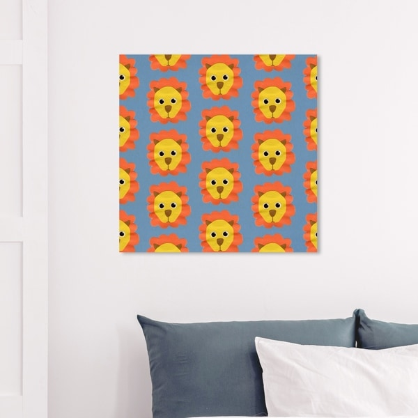 Wynwood Studio 'Lion Pattern' Animals Wall Art Canvas Print - Orange, Yellow