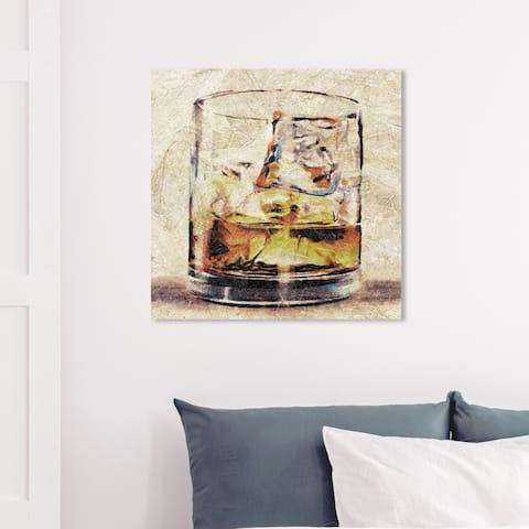 Wynwood Studio 'Scotch Glass' Drinks and Spirits Wall Art Canvas Print - Brown, Brown
