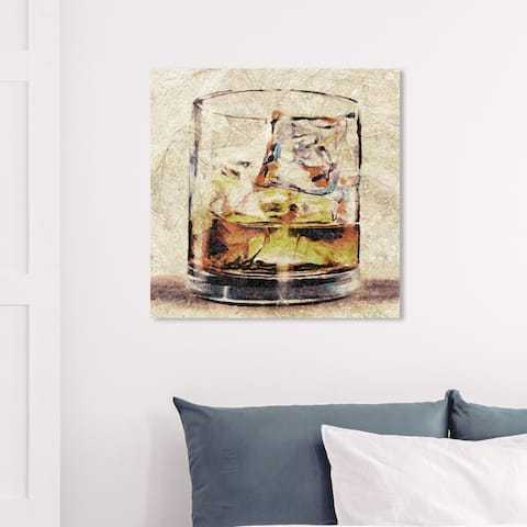 Wynwood Studio 'Scotch Glass' Drinks and Spirits Wall Art Canvas Print - Brown, Brown