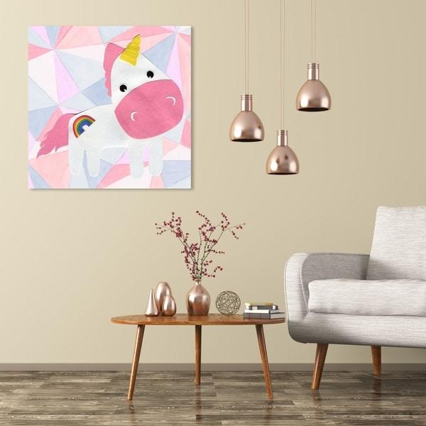 Wynwood Studio 'U for Unicorn' Fantasy and Sci-Fi Wall Art Canvas Print - Pink, White