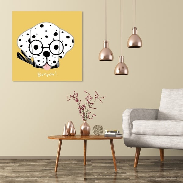 Wynwood Studio 'Bonjour Spots Yellow' Animals Wall Art Canvas Print - Yellow, White
