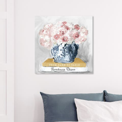 Wynwood Studio 'Farm House Charm Books' Floral and Botanical Wall Art Canvas Print - Pink, White