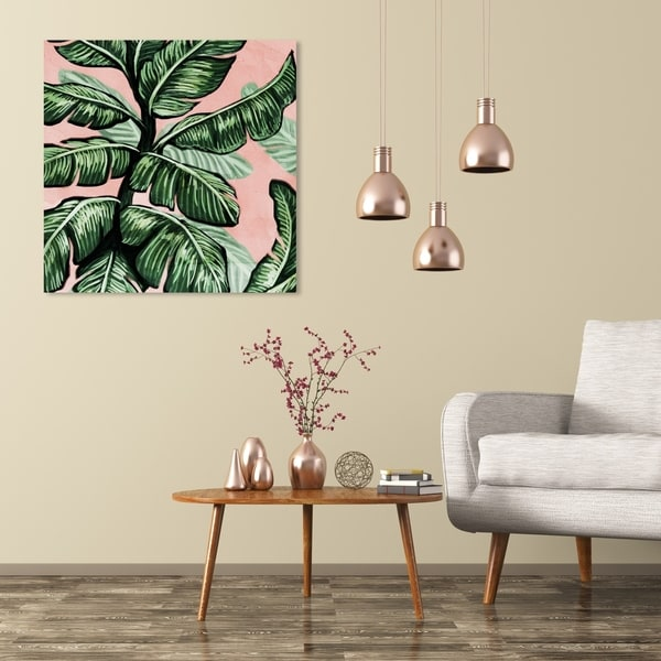 Wynwood Studio 'Blush Toned Leaves Square' Floral and Botanical Wall Art Canvas Print - Green, Pink