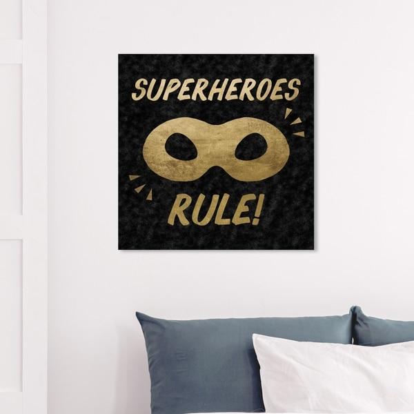 Wynwood Studio 'Superheroes Rule Black Velvet' Fantasy and Sci-Fi Wall Art Canvas Print - Gold, Black