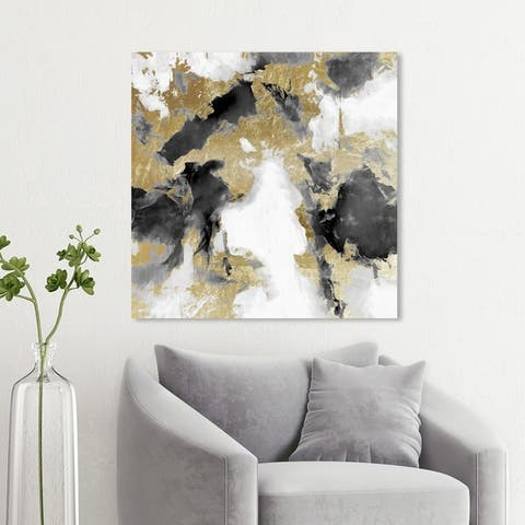 Wynwood Studio 'Explosive Shade White and Gold' Abstract Wall Art Canvas Print - Gold, Black