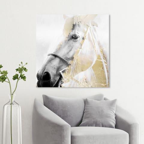 Wynwood Studio 'Horse Gold Dream' Animals Wall Art Canvas Print - White, Gold
