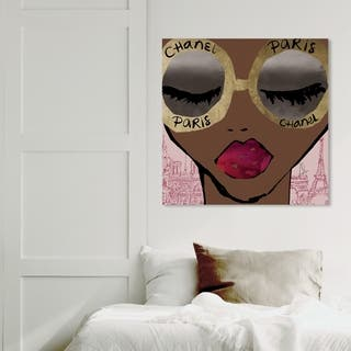 Wynwood Studio 'Ready For The City Gold' Fashion and Glam Wall Art Canvas Print - Gold, Pink
