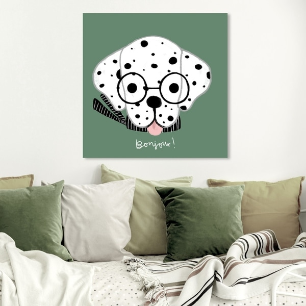 Wynwood Studio 'Bonjour Spots Green' Animals Wall Art Canvas Print - Green, White