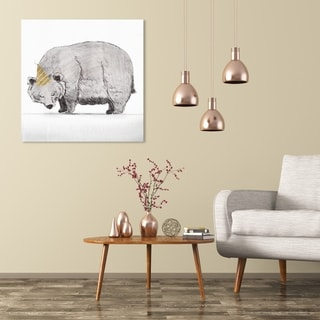 Wynwood Studio 'Party Time Bear' Animals Wall Art Canvas Print - Gray, Gold