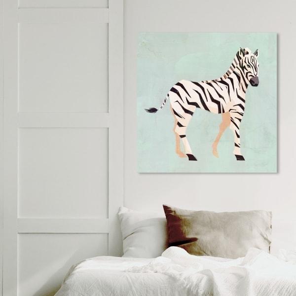 Wynwood Studio 'Zebra Trot' Animals Wall Art Canvas Print - Green, White
