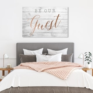 Wynwood Studio 'Be Our Guest Copper' Typography and Quotes Wall Art Canvas Print - White, Pink