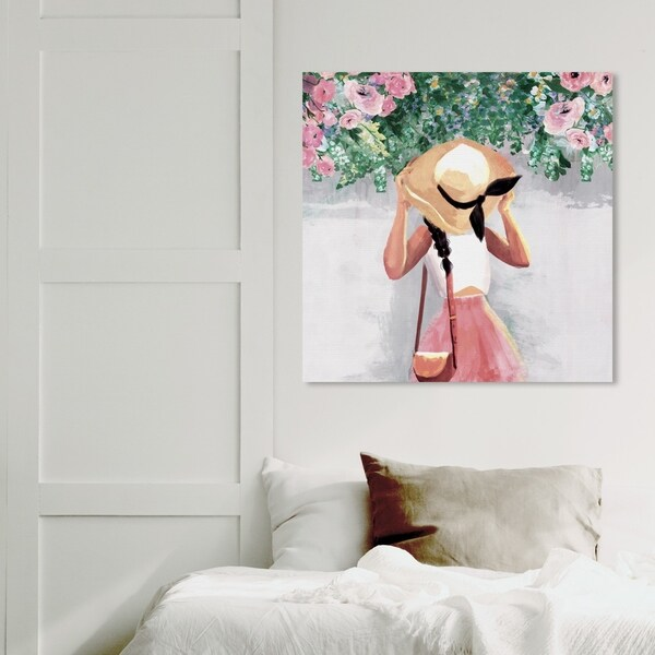 Wynwood Studio 'Spring Over My Head' Floral and Botanical Wall Art Canvas Print - Green, Pink