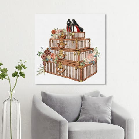 Wynwood Studio 'Travel and Fashion Stack' Fashion and Glam Wall Art Canvas Print - Brown, White