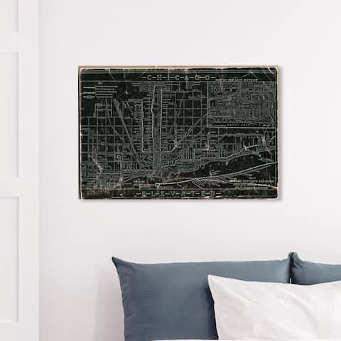 Wynwood Studio 'Chicago Railroad' Maps and Flags Wall Art Canvas Print - Black, Gray
