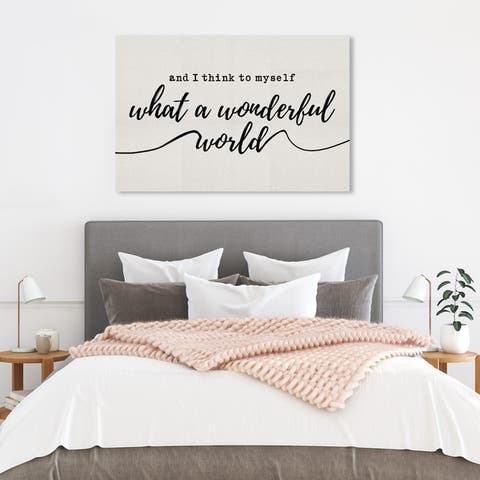 Wynwood Studio 'A Wonderful Life' Typography and Quotes Wall Art Canvas Print - White, Black