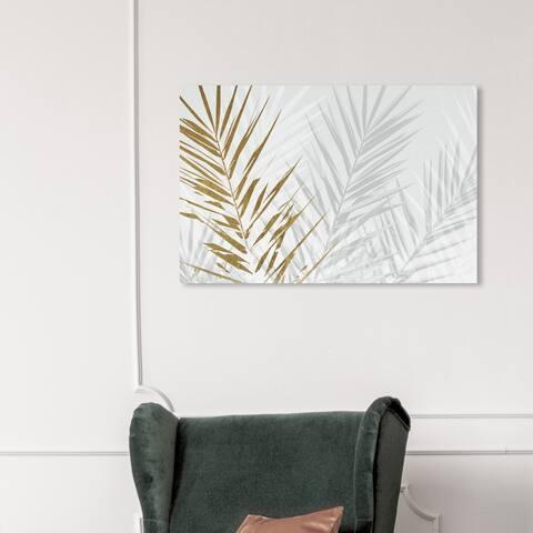 Wynwood Studio 'Eucalyptus Palm Gold' Floral and Botanical Wall Art Canvas Print - Gold, White