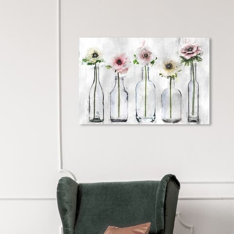 Wynwood Studio 'Anemone Floral' Floral and Botanical Wall Art Canvas Print - Gray, Pink
