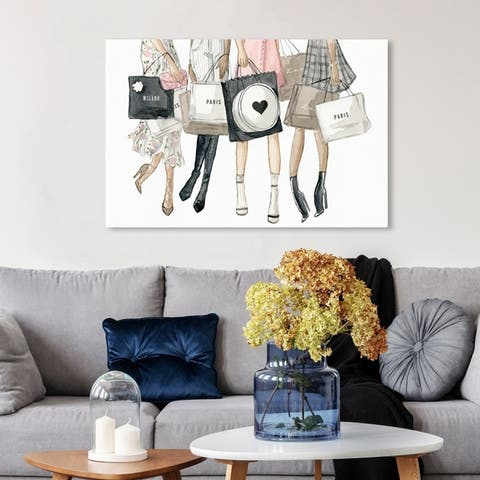 Wynwood Studio 'Shopping Date in Paris' Fashion and Glam Wall Art Canvas Print - Gold, White