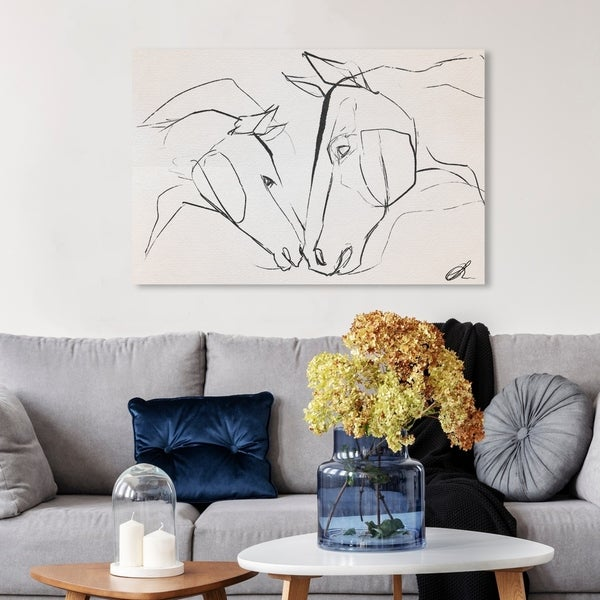 Wynwood Studio 'Mother And Colt II' Animals Wall Art Canvas Print - Black, White